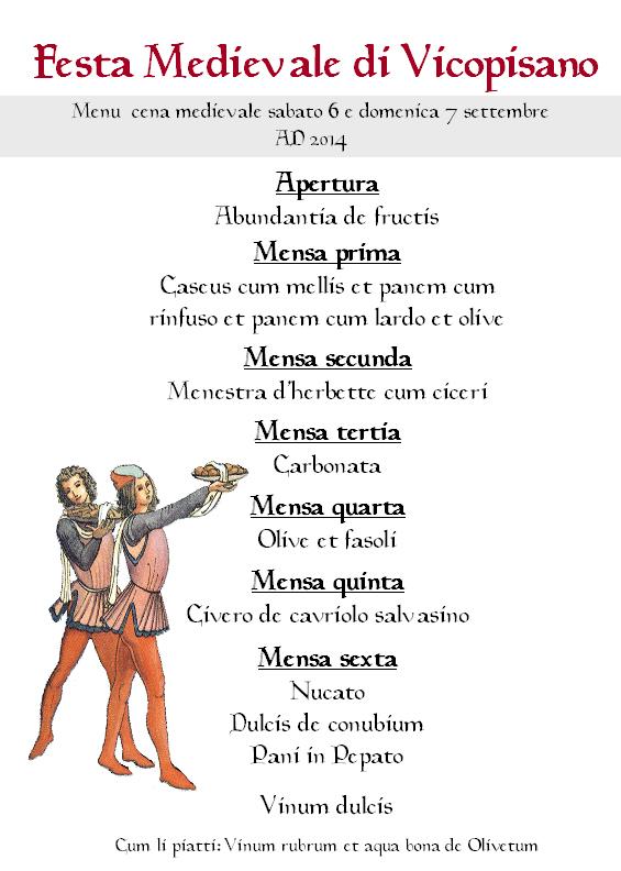 Menù Festa Medievale 2014
