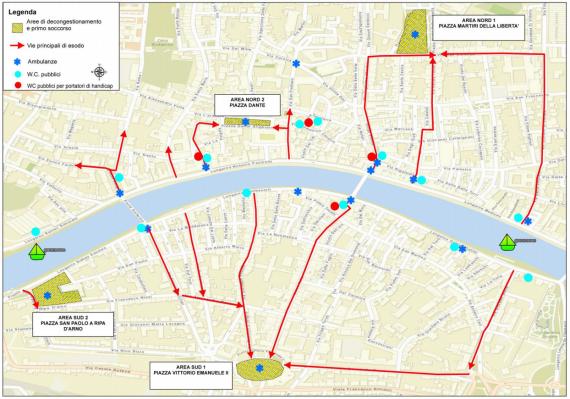 Mappa Luminara 2017 vie di fuga, aree primo soccorso e wc chimici